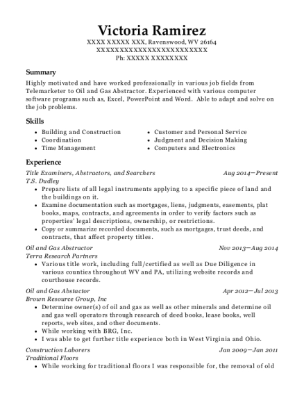 Title Examiners resume template West Virginia