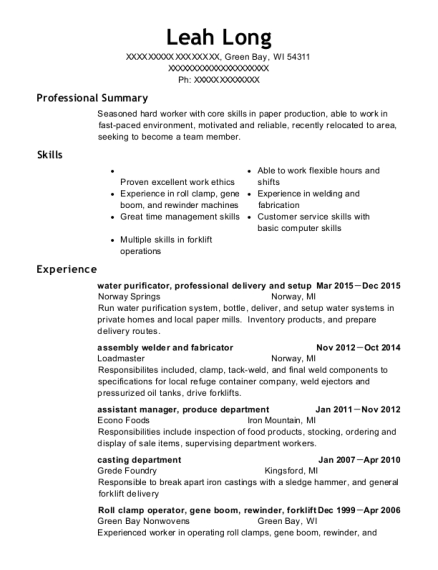 water purificator resume format Wisconsin