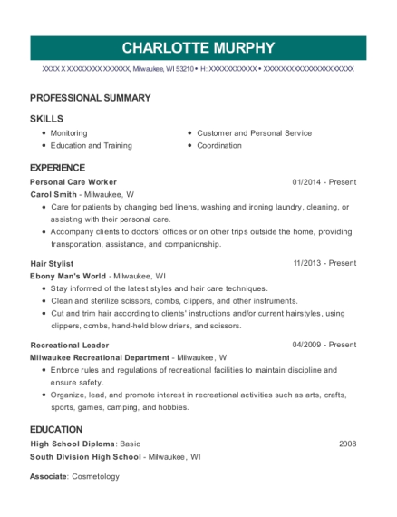Personal Care Worker resume sample Wisconsin