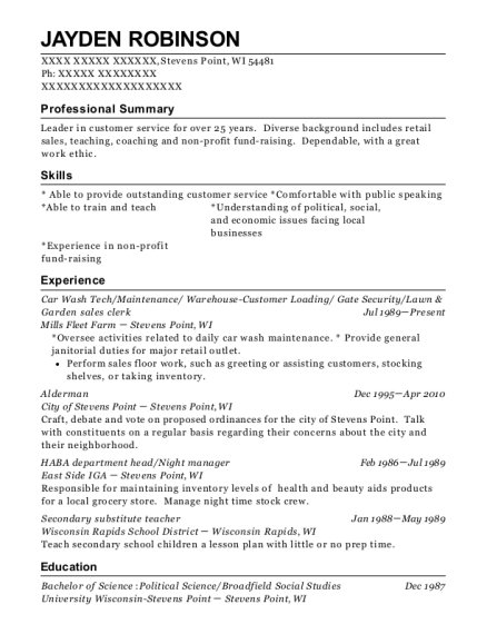Car Wash Tech resume template Wisconsin