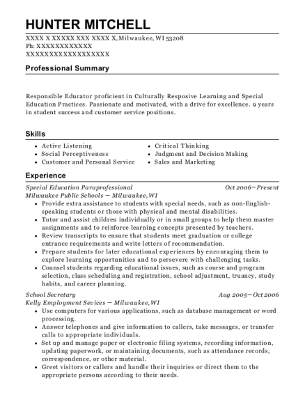 Special Education Paraprofessional resume sample Wisconsin